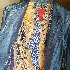 V Cristina, blue faux leather studded jacket, sz S